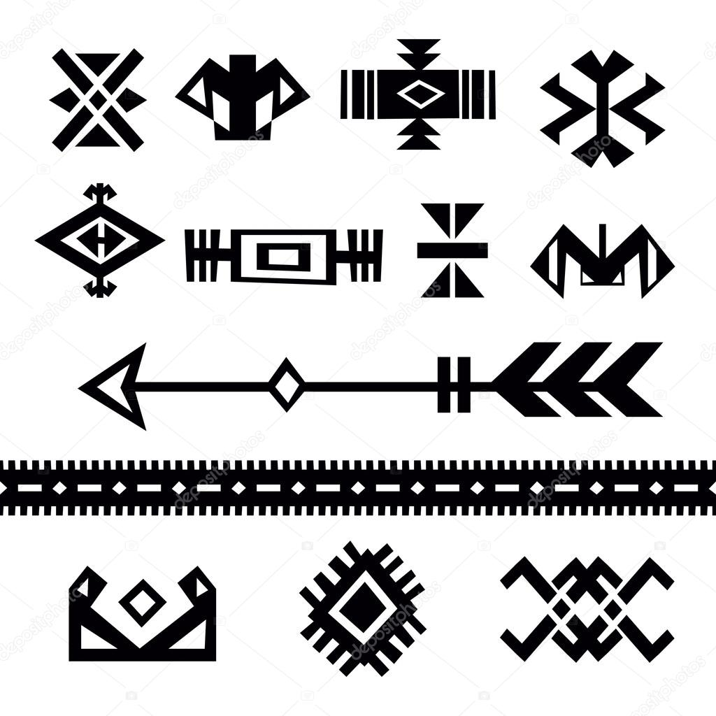set of tribal symbols stock vector nata789 94474398