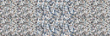 Collage of many images with young businesspeople