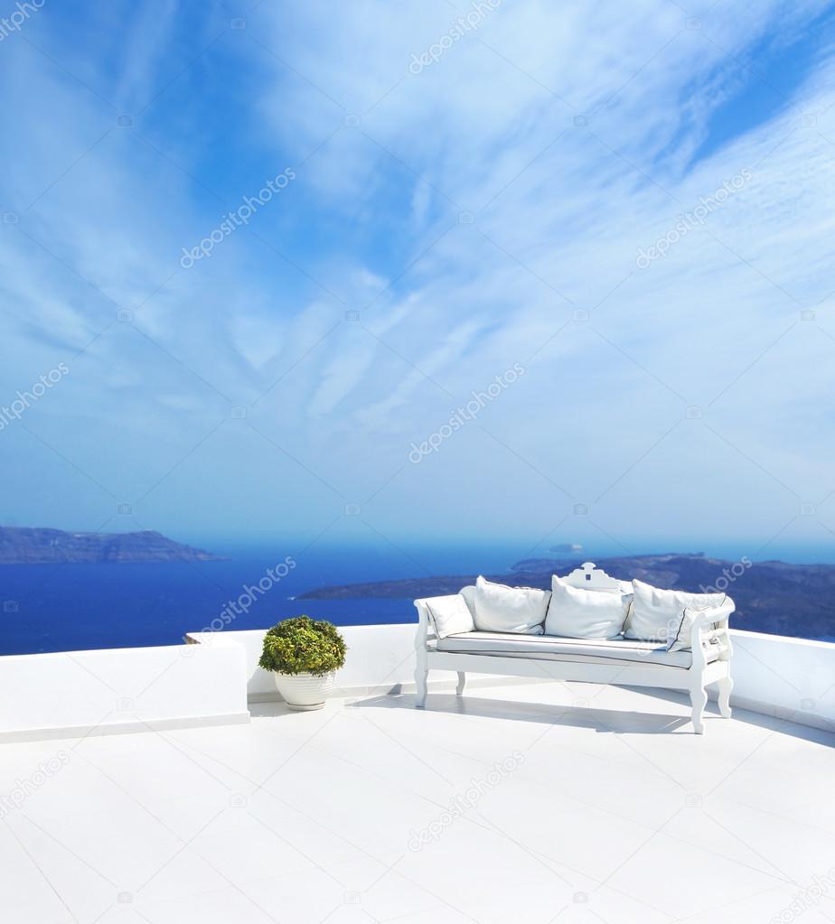 Wedding decoration on Santorini island. Beautiful sky.