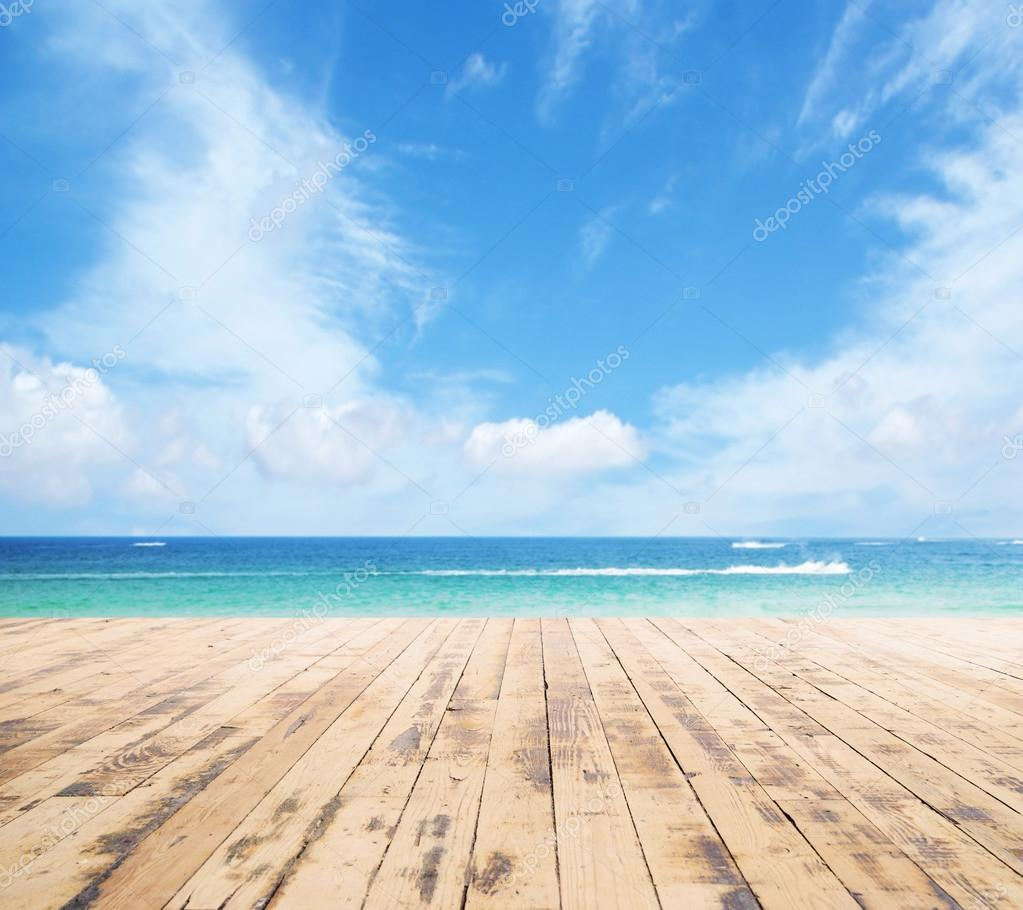 Wooden pier, exotic sea and the  blue sky