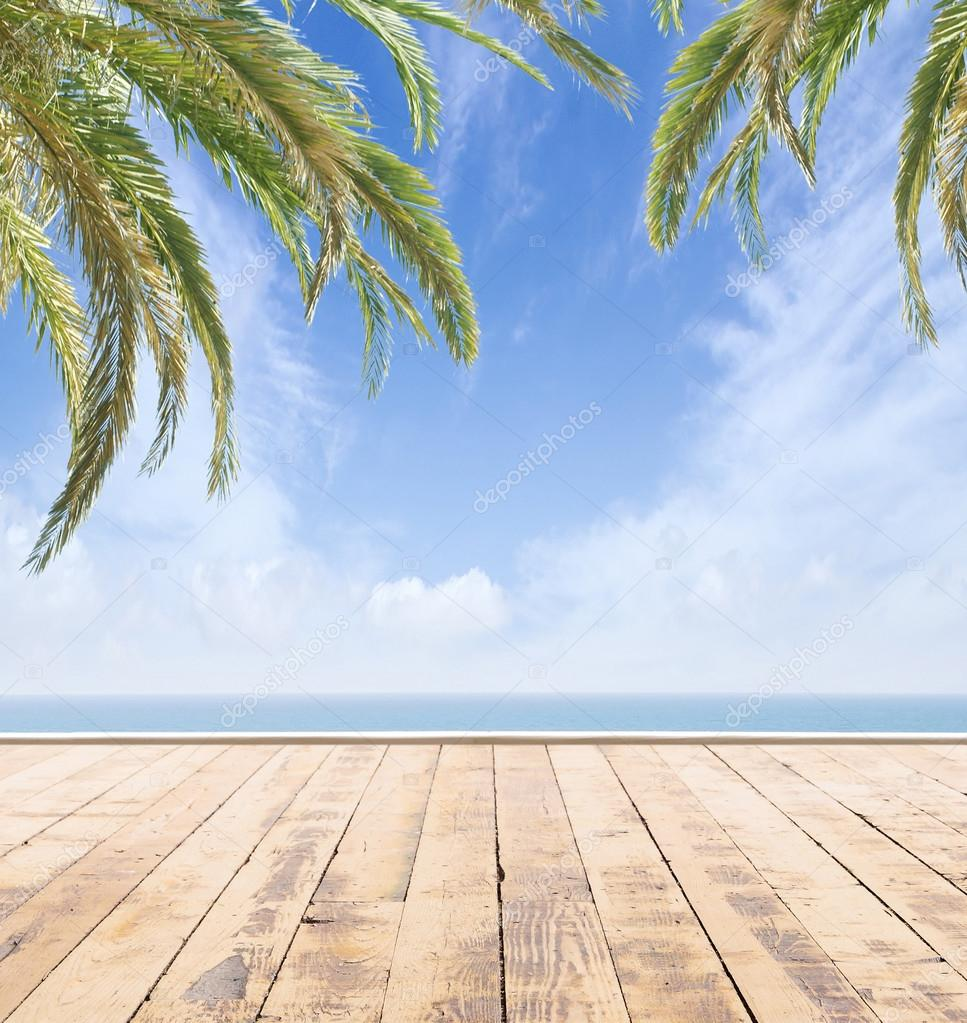 Фотообои Wooden pier, exotic sea and the blue sky