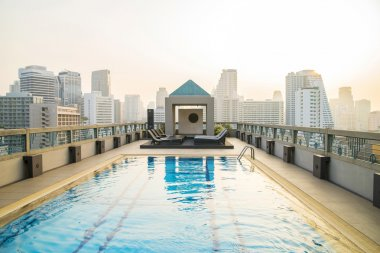 Luxury pool on the roof of a skyscraper