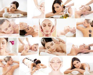 Photos with women having  massage