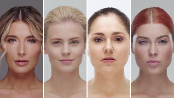 Négy különböző női arcból álló kollázs. Gyönyörű nők portréi. Bőrápolás, smink és kozmetikai koncepciók.