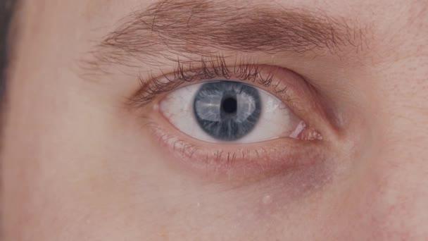 Großaufnahme eines männlichen blauen Auges. Der Mensch schaut in die Kamera aus nächster Nähe. Iris, Pupille und Augenbrauenmakro. Sehprobleme, Augenheilkunde und Optometrie.