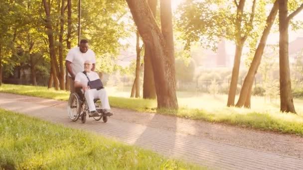 Afroamerikanische Pflegekraft und alter behinderter Mann im Rollstuhl. Professionelle Krankenschwester und behinderte Patientin im Park. Hilfe, Rehabilitation und Gesundheitsfürsorge. Goldene Stunde Sonnenuntergang.