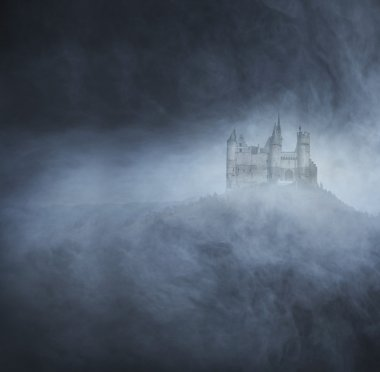 Halloween background with ancient castle