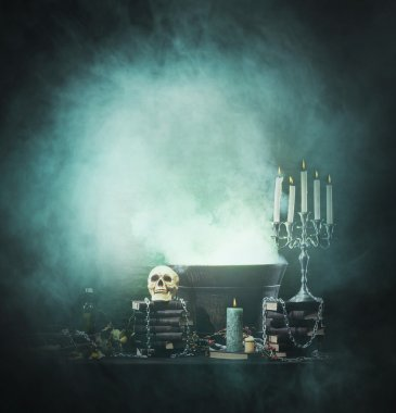 Halloween background with witchcraft tools
