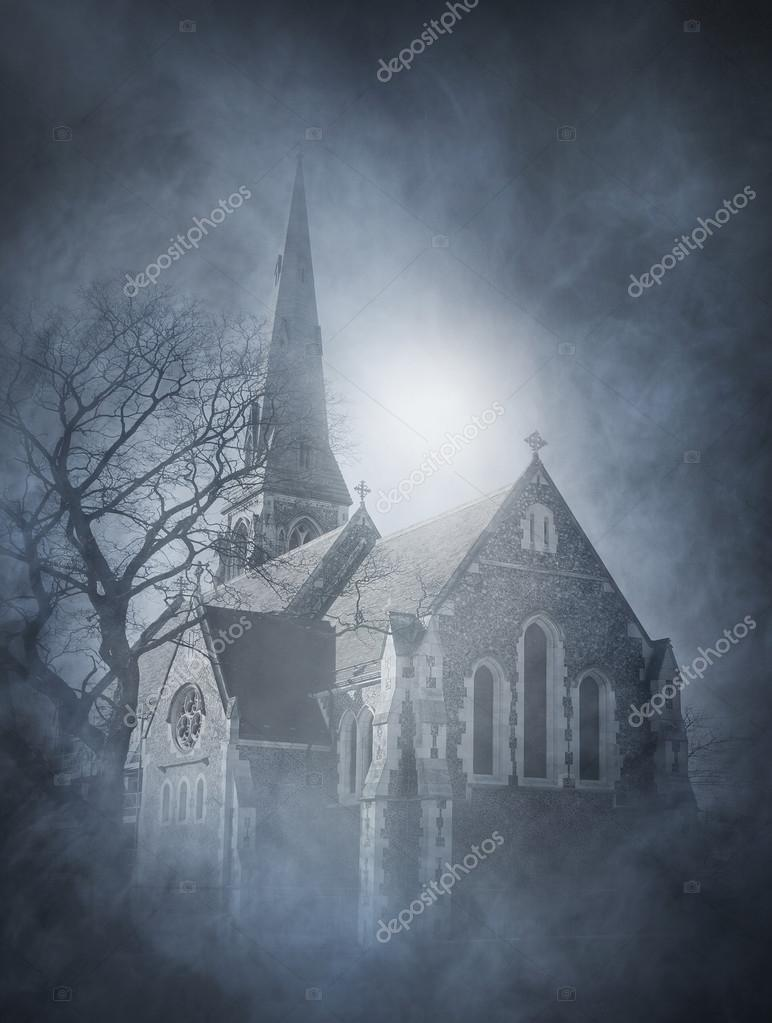 halloween background with ancient church stock photo