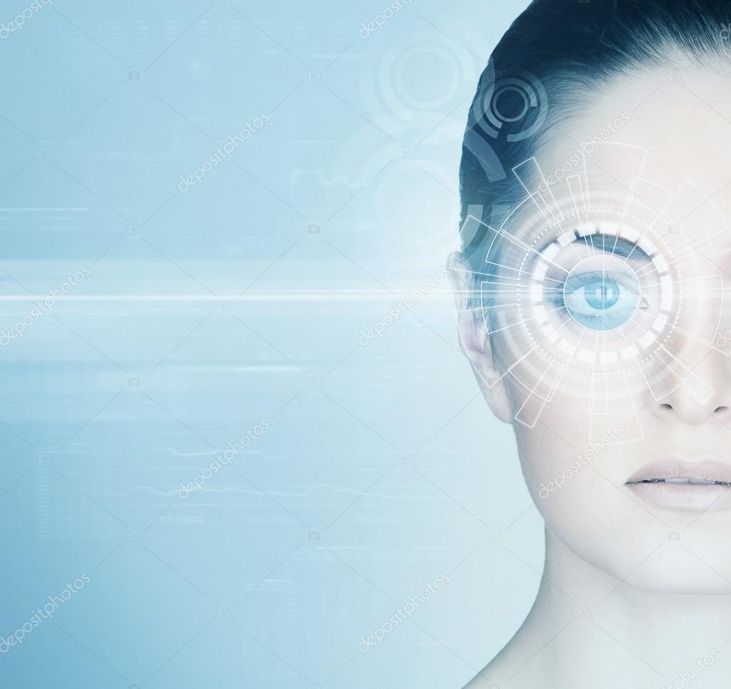Woman eye surgery