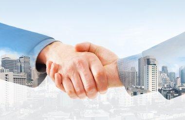 Handshake between two businessmen on a city background. Double exposure creative concept. stock vector