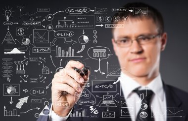 Businessman working with business plan