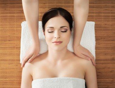 healthy woman in spa salon.