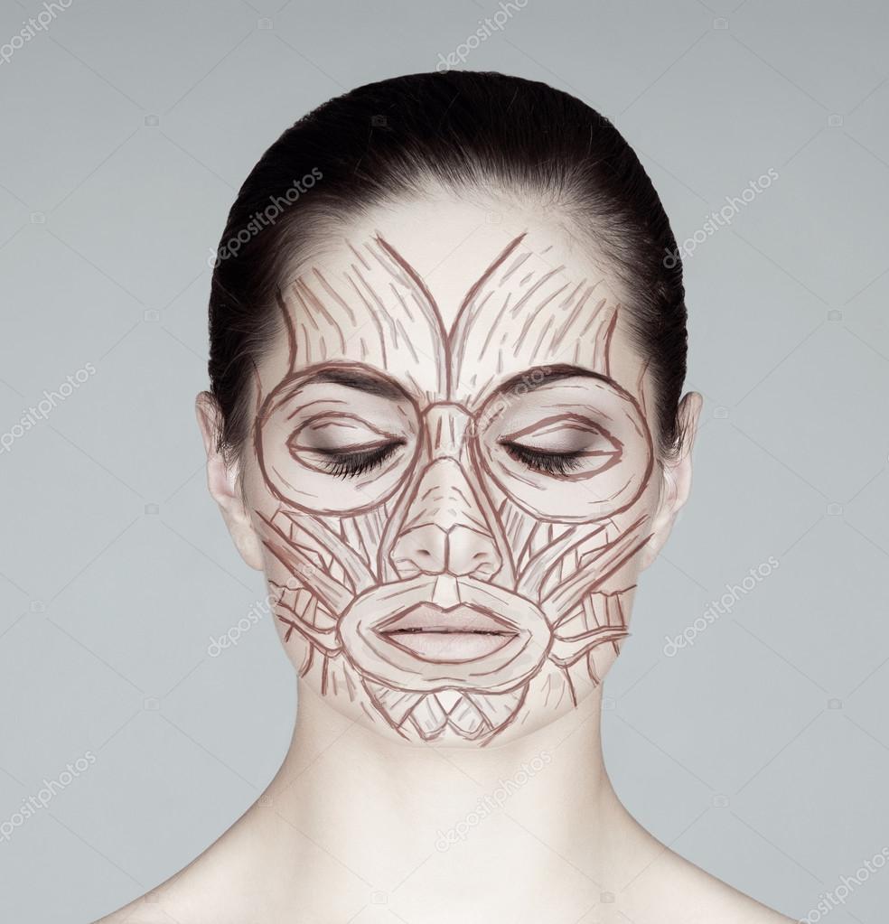 Músculos de la cara de mujer — Foto de stock © shmeljov #74702223