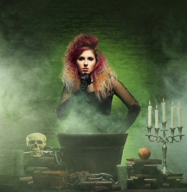 witch conjuring in a dungeon