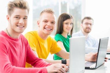 Students at programming lesson