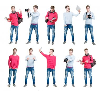 Collection of male student taking selfies