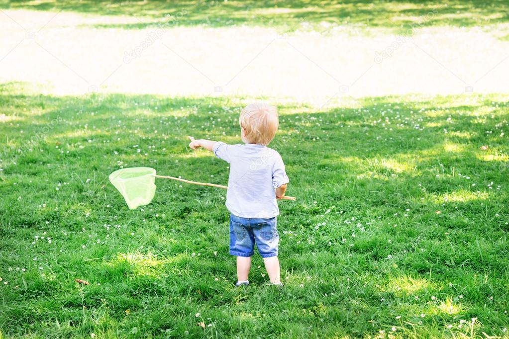 Little boy catching butterflies