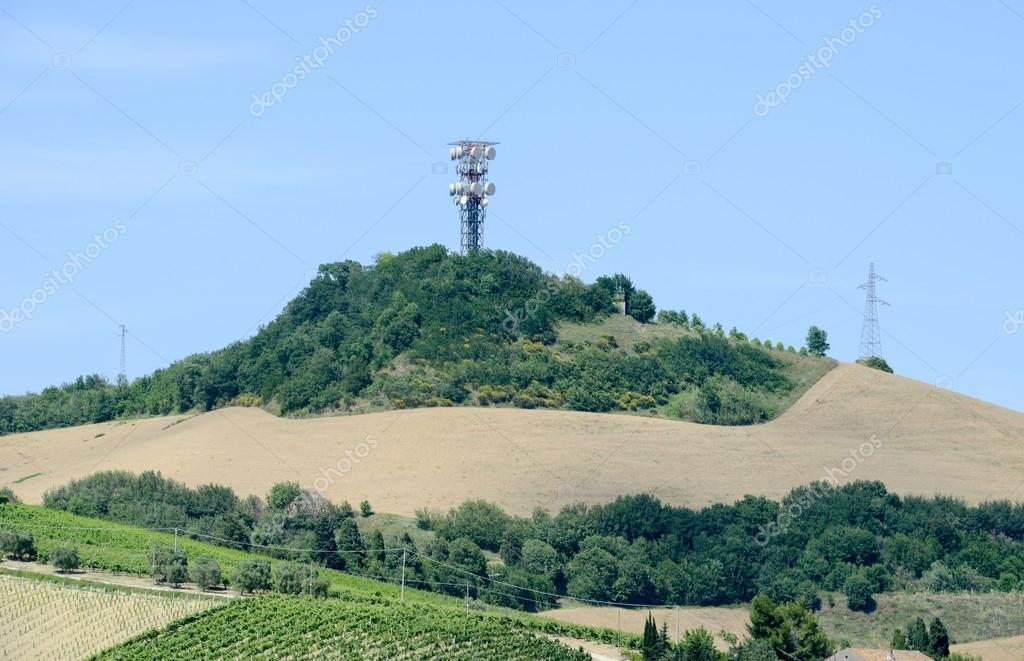 Communication antennas on hill