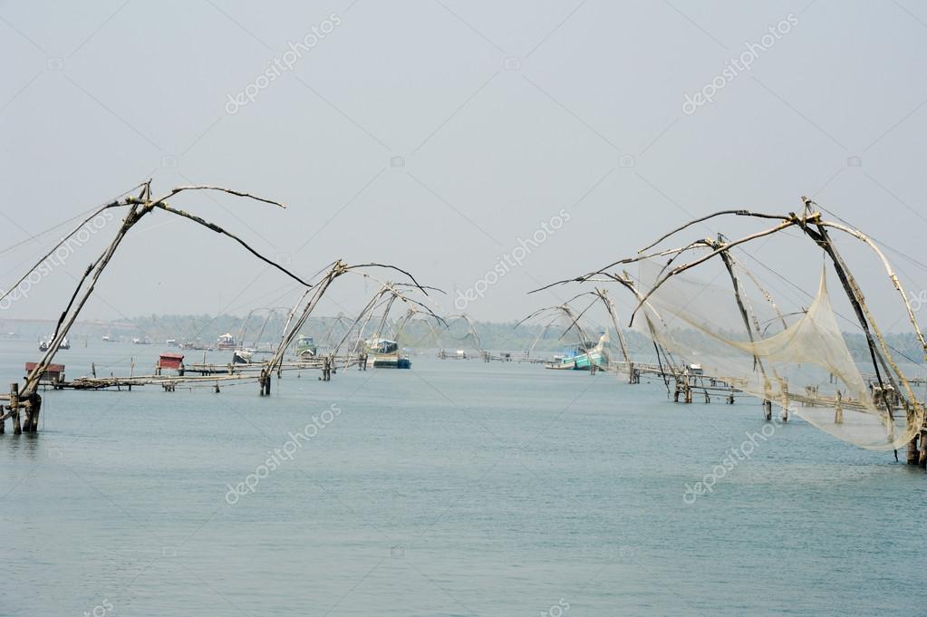Chinese fishing net on the backwaters of Kerala, India