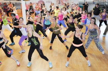 People dancing during Zumba training fitness
