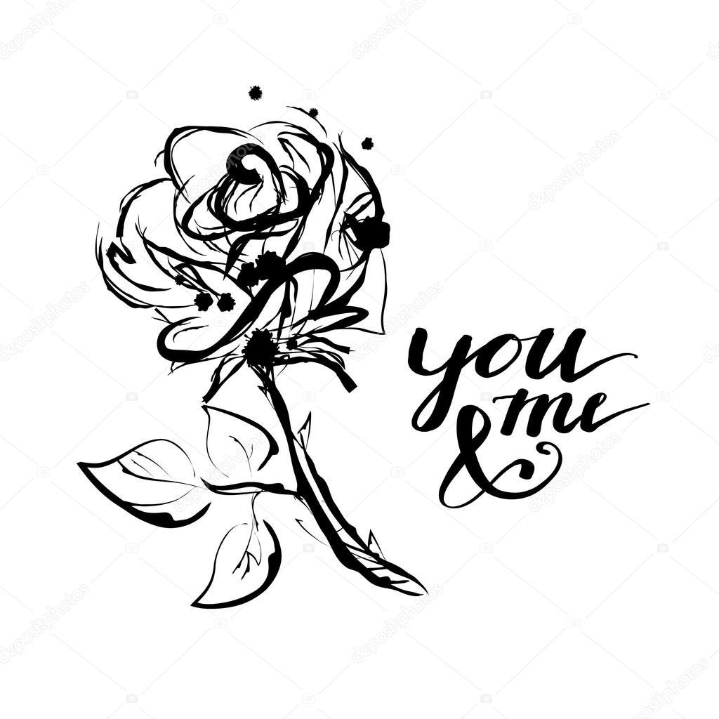 Romantic sketch flower stock vector