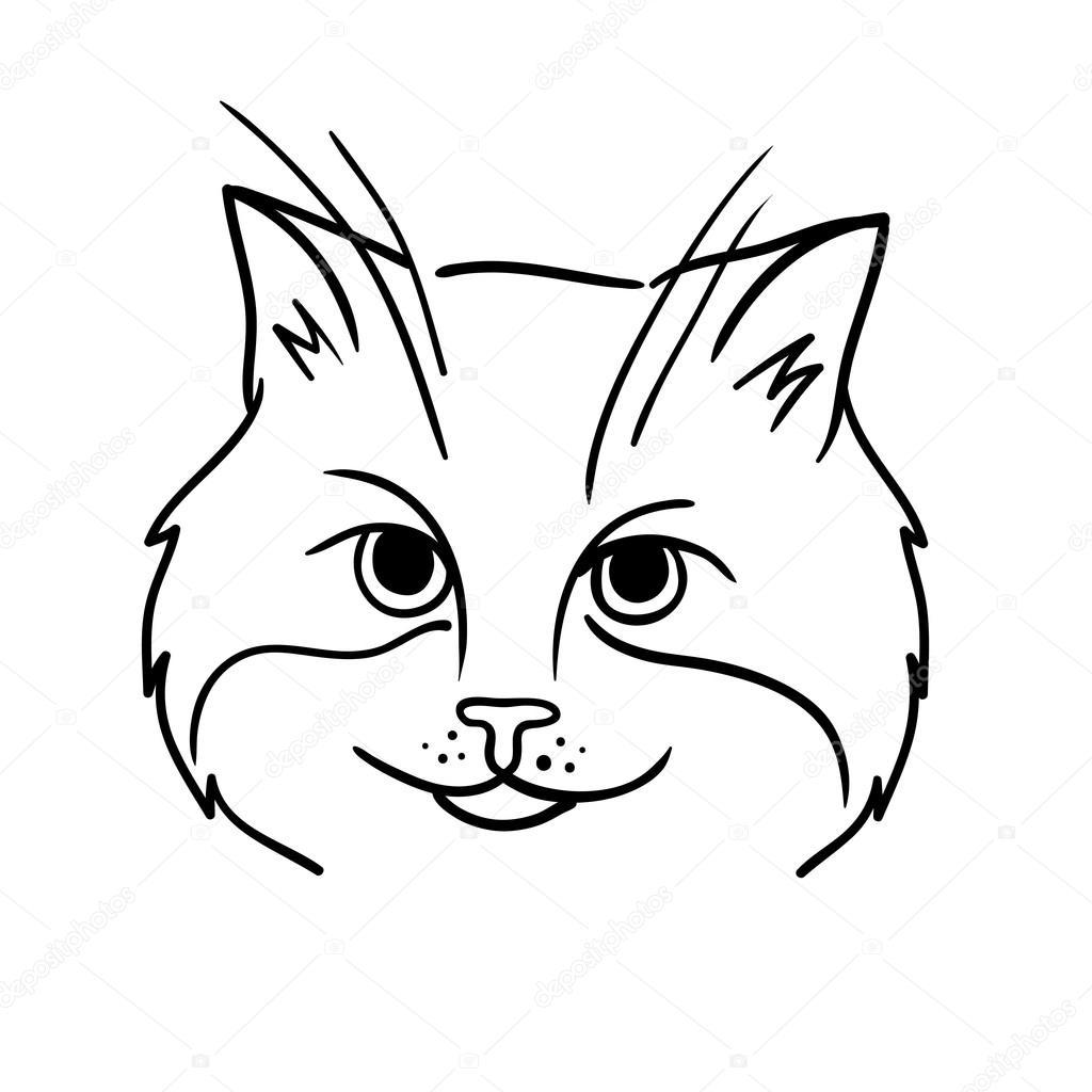 Cara De Gato Dibujado A Mano Archivo Imágenes Vectoriales