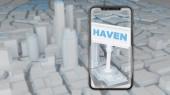 koncept hledání útočiště ve městě přes smartphone. 3D vykreslování