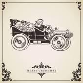 Fényképek Santa claus autót vezetni. karácsonyi üdvözlőlap