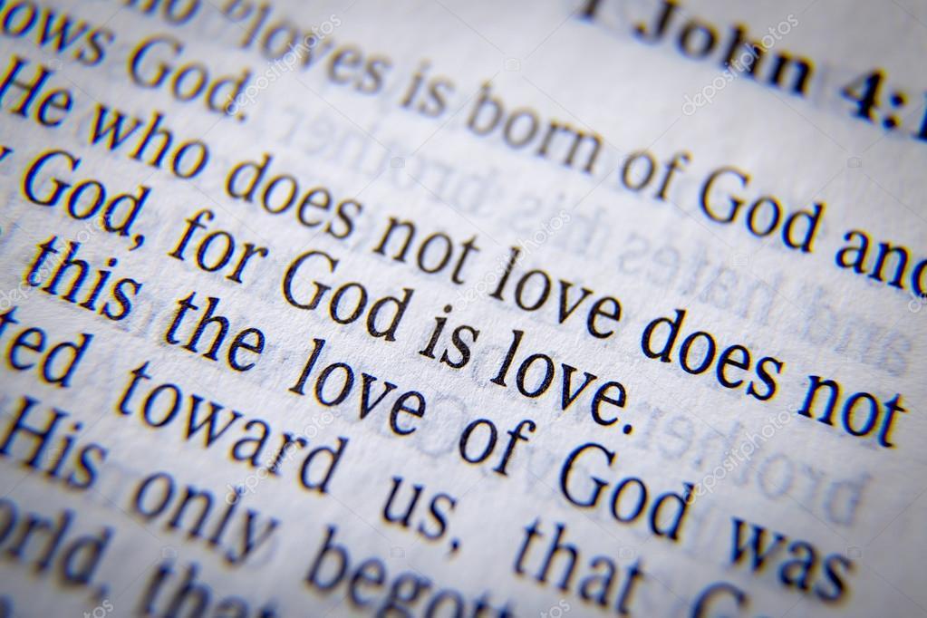 성경 텍스트 하나님 사랑입니다-요한 1 서 4:8 — 스톡 사진