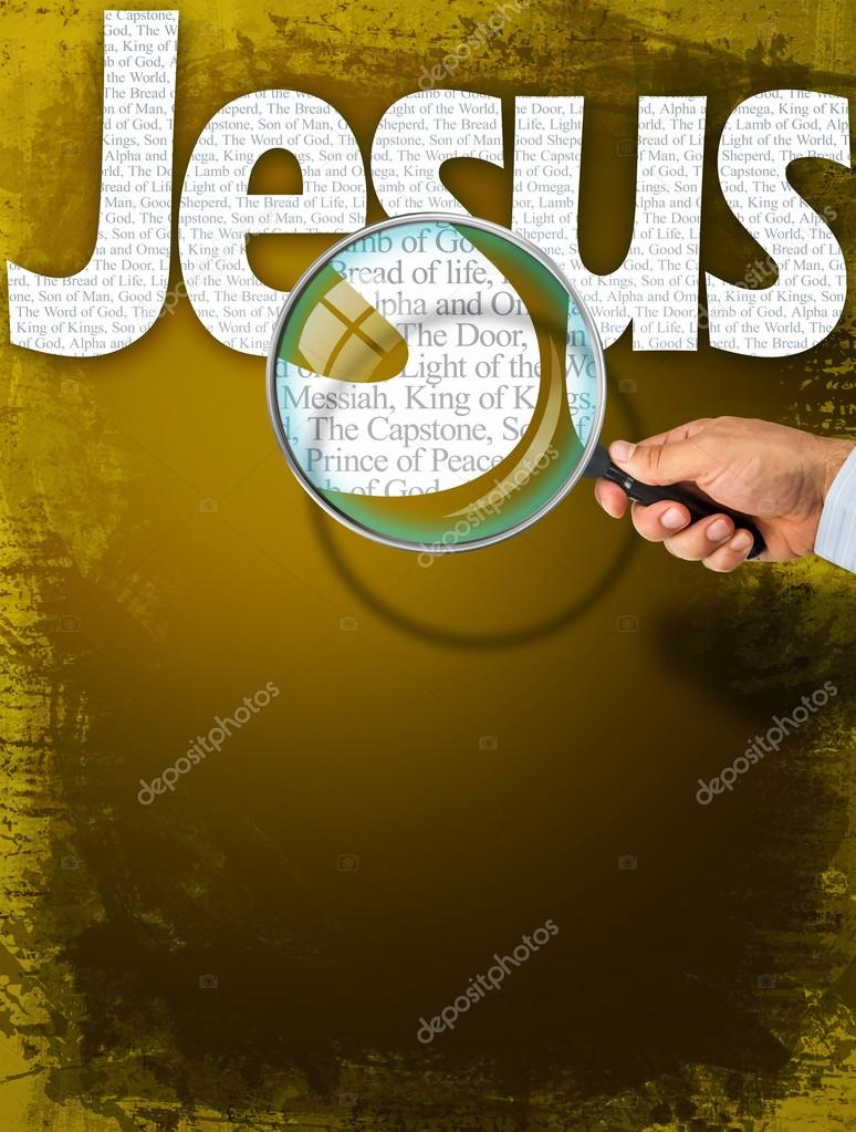 Imię Jezus Pod Obserwacją Z Lupą Zdjęcie Stockowe Hriana 85615444