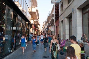 CRETE,HERAKLION-JULY 25: Shopping street Dedalou on July 25,2014 in Heraklion on the island of Crete, Greece. Daidalou Street is a paved pedestrian area.
