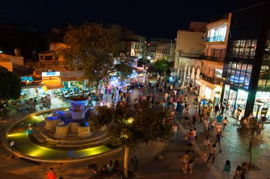 CRETE,HERAKLION-JULY 24: Eleftheriou Venizelou Square or Lions Square at night on July 24,2014 in Heraklion on the Crete island, Greece.