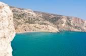 Photo Libyan sea and clothing-optional beach near Matala beach on the Crete island, Greece.