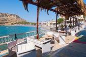 Matala, Kréta-Červenec 22: Místní restaurace v obci Matala na července 22,2014 na ostrově Kréta, Řecko. Matala je vesnice se nachází 75 km jihozápadně od Heraklionu na Krétě.