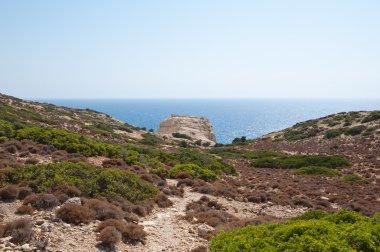 Libyan sea and mountain near Matala beach on the Crete island, Greece.