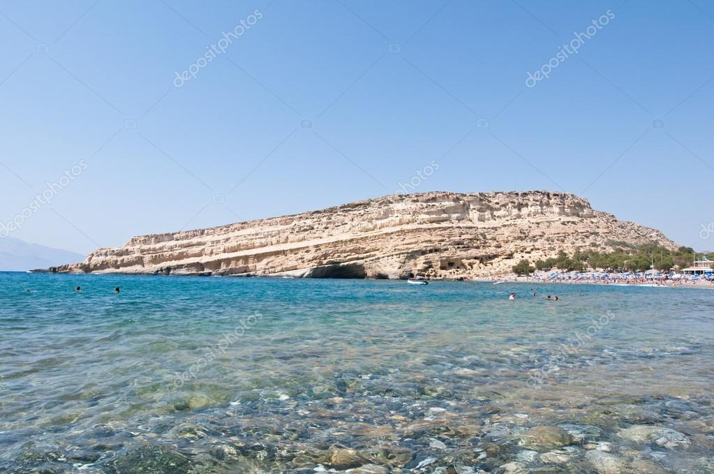 Libyan sea and the coast of Matala beach on the Crete island, Greece.