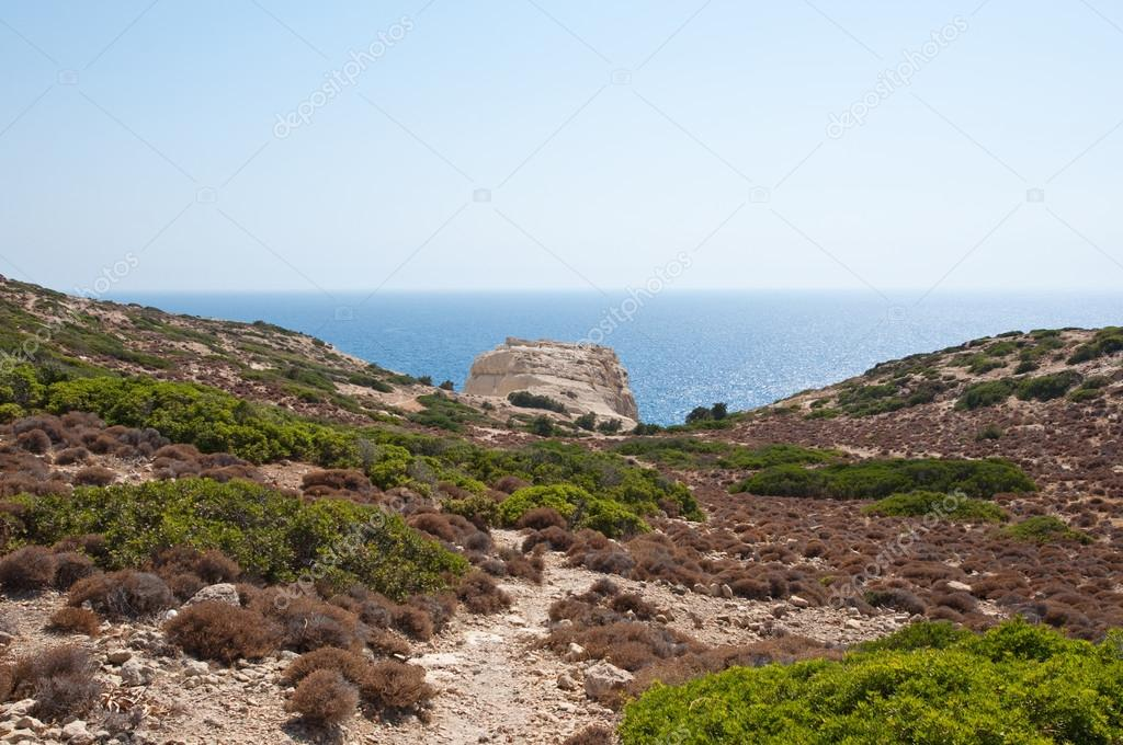 Libyan sea and mountain near Matala beach on the Crete island, Greece.
