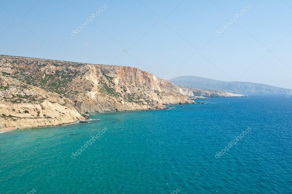 Libyan sea and the coast of the red beach near Matala beach on the Crete island, Greece.