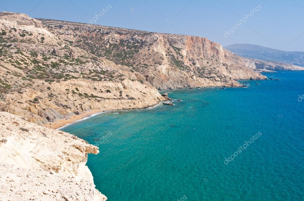 Libyan sea and the coast near Matala beach on the Crete island, Greece.