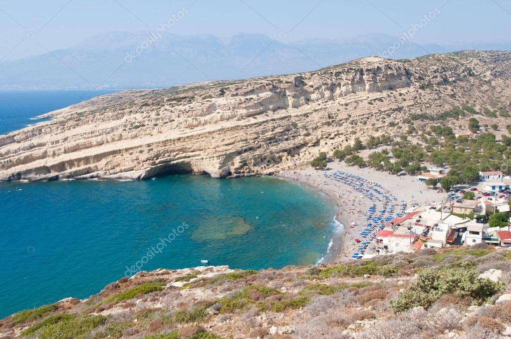 Panoramic view of Matala village and Matala beach on the Crete island, Greece.