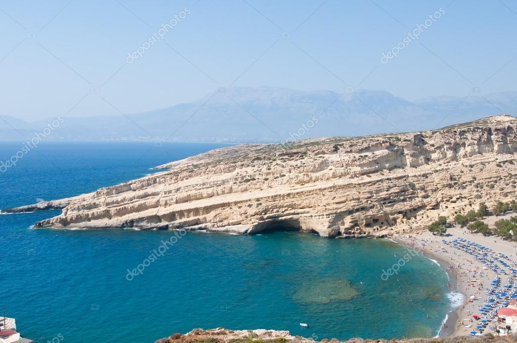 Panoramic view of Matala caves and Matala beach on the Crete island, Greece.