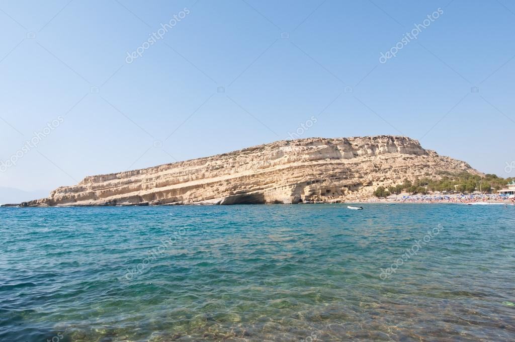 Famous Matala hippy beach on the Crete island, Greece.