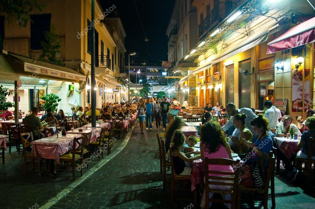 ATHENS-AUGUST 22: Street with various restaurants and bars on Plaka area, near to Monastiraki Square on August 22, 2014 in Athens, Greece.