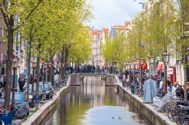 Amsterdam-April 30: Amsterdam Red Light District, crowd of tourists go sightseeing on April 30,2015.