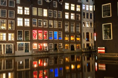 Red light district at night in Amsterdam. The Netherlands.