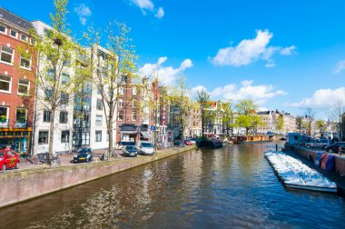 The Prinsengracht canal (Prince's Canal) with row of boats, Amsterdam.