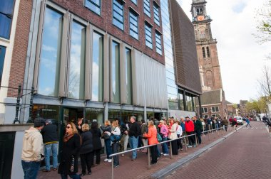 People queue up to the Anne Frank House Museum, Amsterdam.