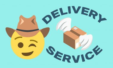 Delivery service text and package with wings and winking face with hat on light blue background,vector illustration icon