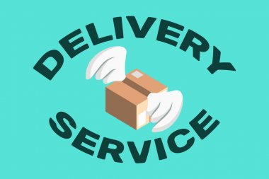 Delivery service text and package with wings on light blue background,vector illustration icon